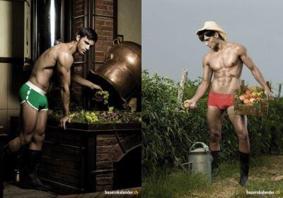 hot farmers as underwear models - calendar photos