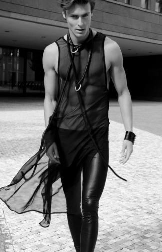 mens leather leggings 2015 - male model