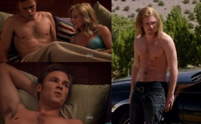 Patrick John Flueger Shirtless in Scoundrels - composite