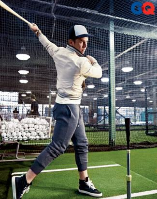 buster posey baseball fashion - gq mag - banana rep jacket - michael bastian sweatpants - sandro sneakers