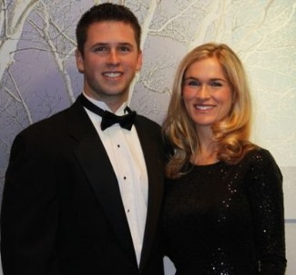 buster posey wearing tuxedo with wife kristen
