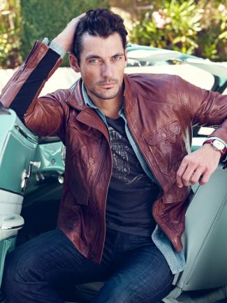 mens brown leather jacket 2015 - luckybrand - david gandy