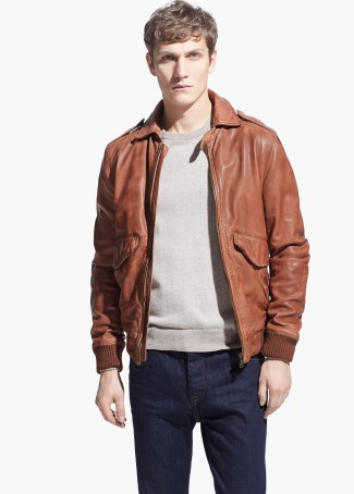 mens brown leather jacket 2015 review - mango aviator jacket