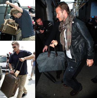 mens designer bags - David Beckham and Lanvin Sac Weekend Bag and louis vuitton bags