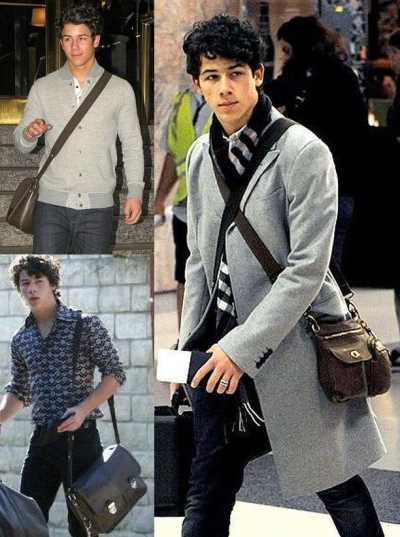mens designer bags - nick jonas with Roots Village Bag and Louis Vuitton Taiga Alexei Bagx