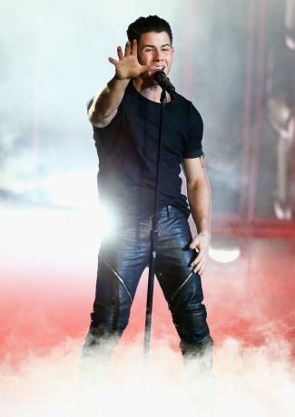 nick jonas leather pants -  2015 iHeartRadio Music Awards