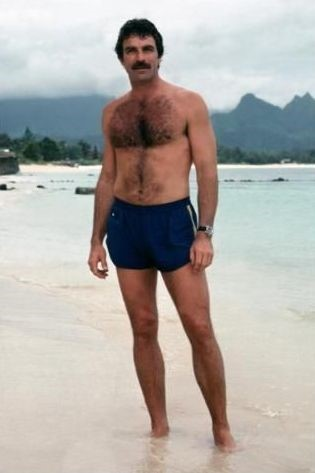body hair men vintage - tom selleck in magnum pi
