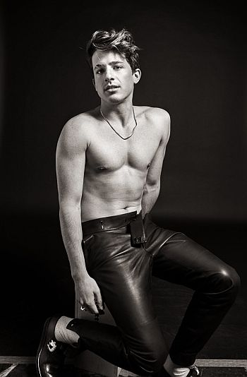 charlie puth shirtless in leather pants