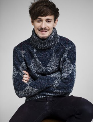 giles matthey model - jeans and turtleneck sweater