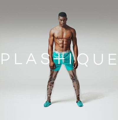 mens see through pants - male model - plastique