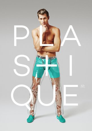 mens transparent pants - plastique fruit of the loom male model