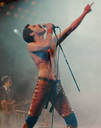 rami malek shirtless body as freddie mercury in leather pants