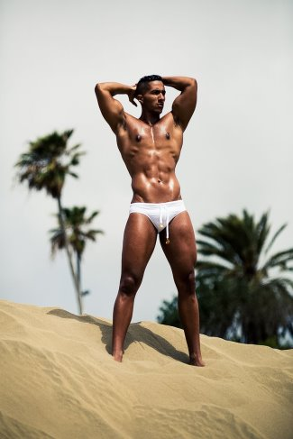 white swimsuit for men - Karim Gasmi in Charlie by MZ - pic by Adrian C Martin