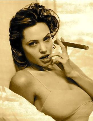 hot girls smoking cigars - angelina jolie