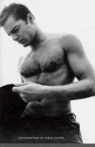 hot men with hairy chest - ricky martin