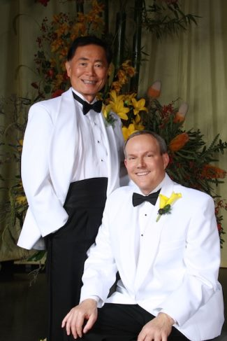 openly gay asian actors hollywood - George Takei and Brad Altman wedding