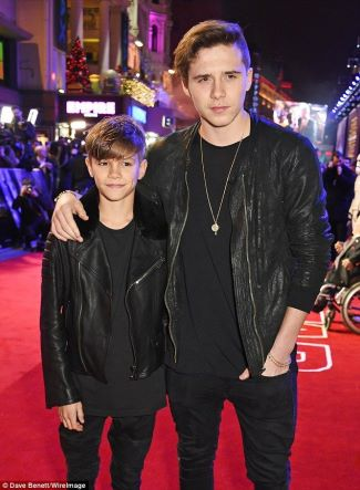 boys in leather jackets - brooklyn and romeo beckham - burberry leather