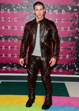 boys in leather jackets - nick jonas in versace leather jackets and pants - 2015 vma