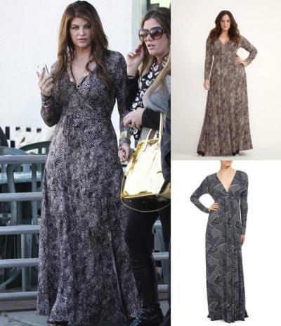full figured dresses 2016 - kirstie alley in rachel pally long wrap dress4