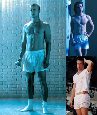 hot hot men in shorts brad pitt white boxer shorts