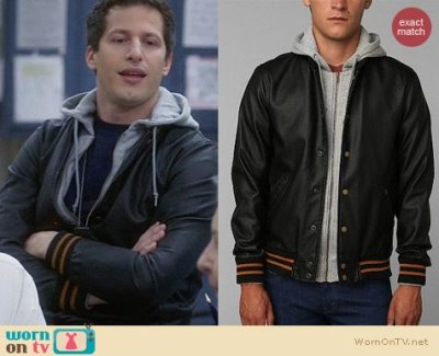 andy samberg leather jacket - obey faux leather varsity jacket