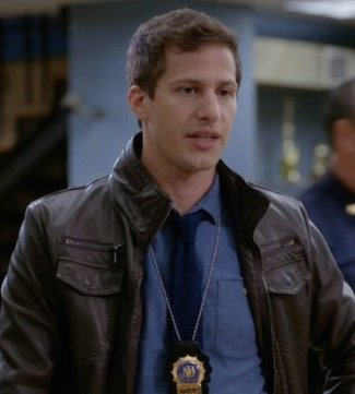 brooklyn nine-nine andy samberg jake peralta leather jacket - charles and one half faux leather moto jacket