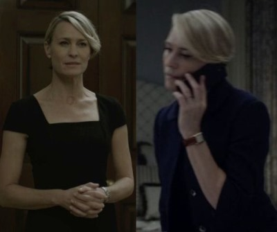 female celebrity cartier watch - claire underwood robin wright - cartier tank francaise bracelet watch5