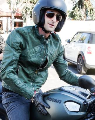 mens green leather jacket - adrien brody