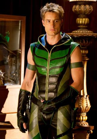 green leather - justin hartley as oliver queen