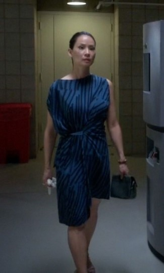 lucy liu joan watson fashion - anglomania cotton matchstick jersey dress