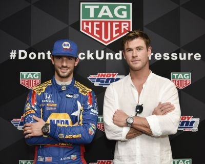 alexander rossi sponsorships - tag heuer - chris hemsworth