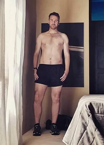 andy west shirtless in boxer shorts