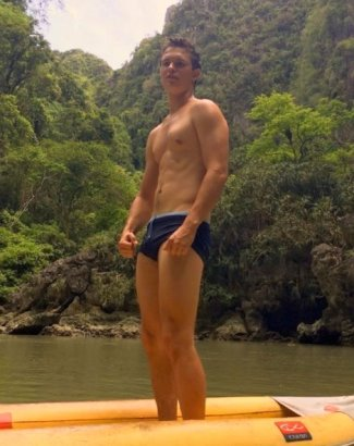 ansel elgort speedo photos - vacation