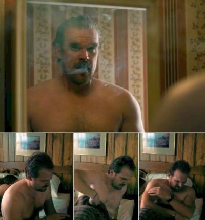 david harbour shirtless in stranger things2