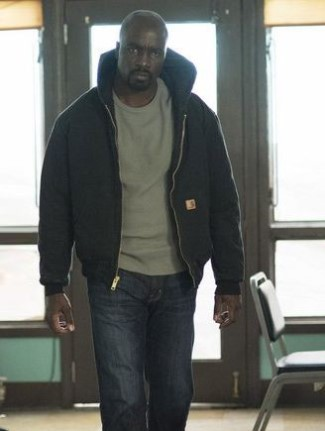 luke cage hoodie jacket on mike colter