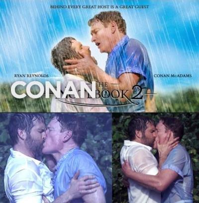 ryan reynolds gay proof - kissing conan obrien