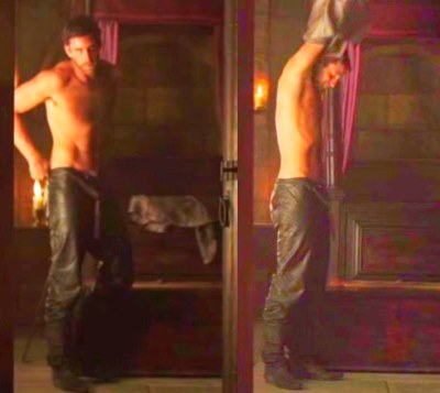 Oliver Jackson-Cohen shirtless in leather pants9a