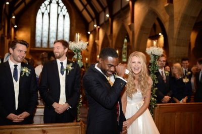 ore oduba wedding photo - wife portia oduba