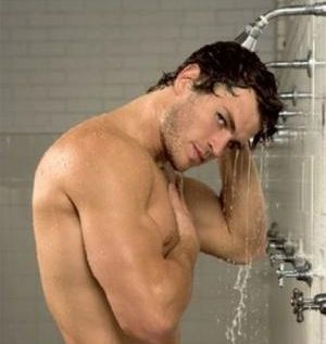 football players in the shower