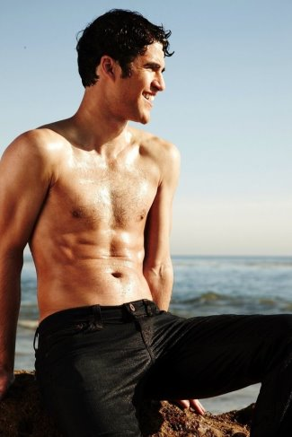 darren criss washboard abs