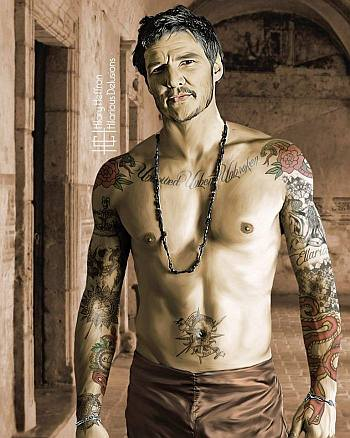 pedro pascal shirtless body tattoo