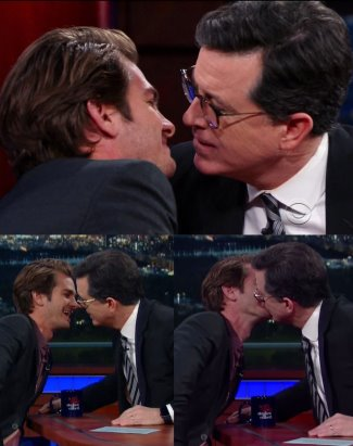 stephen colbert gay kiss andrew garfield2