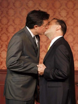 stephen colbert gay kiss with Dave Razowsky
