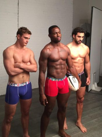 rugby players underwear by dim - Jules Plisson Fulgence Ouedraogo and Yoann Huget