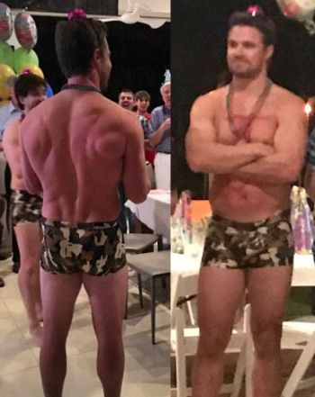 stephen amell underwear - boxer briefs camo on john barrowman 50th birthday