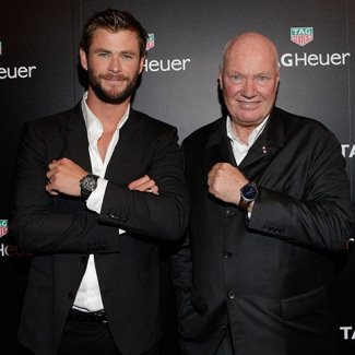 Chris Hemsworth TAG Heuer Carrera with ceo jean-claude biver