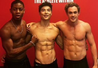 Dacre Montgomery shirtless power rangers with RJ Cyler and Ludi Lin