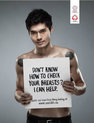 Henry Golding shirtless breast cancer cleo