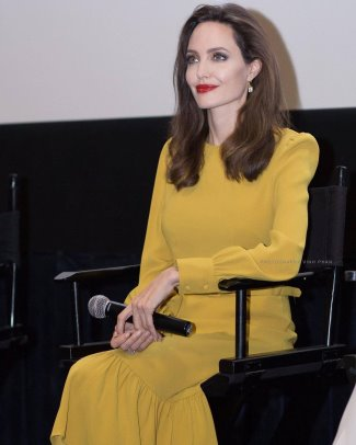 angelina jolie co yellow dress Resort 16 collection