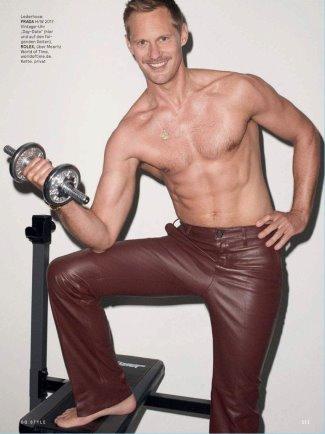 Alexander Skarsgard leather pants by Prada